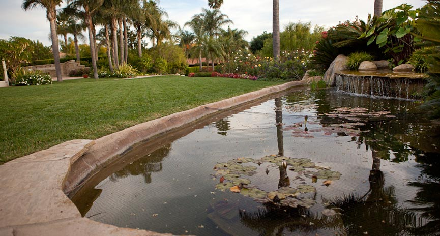 santa barbara backyard waterfall and pond