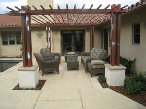 backyard dining area and custom pergola in Santa Barbara
