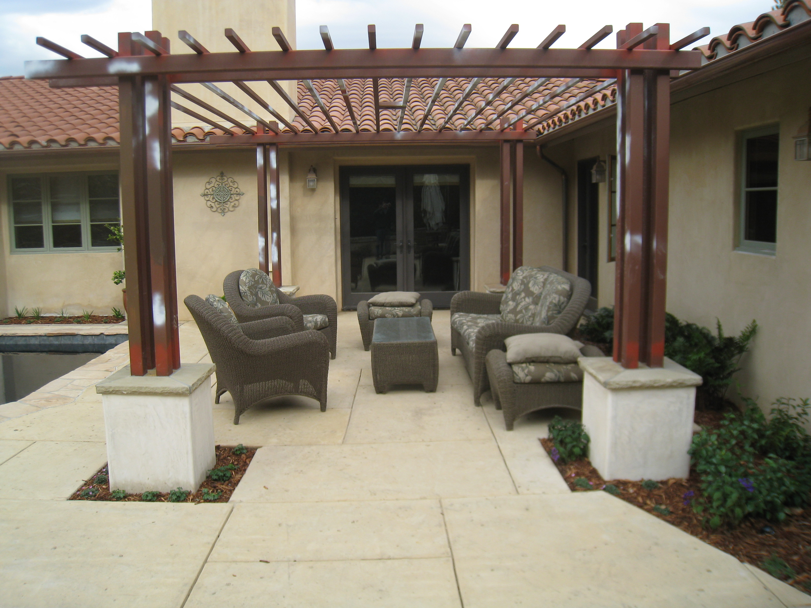 Custom trellis to match pergola landscapes by earth design - Backyard Dining Area And Custom Pergola In Santa Barbara